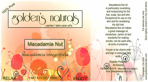 Macadamia Nut Oil, Carrier Oil, Golden's Naturals - Golden's Naturals = quality essential oils at affordable prices