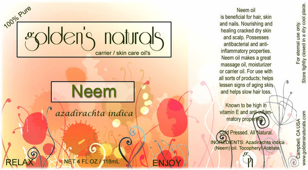 Neem Oil, Carrier Oil, Golden's Naturals - Golden's Naturals = quality essential oils at affordable prices