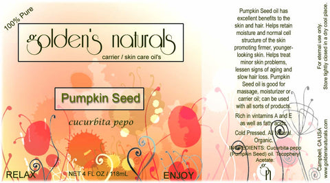 Pumpkin Seed Oil, Carrier Oil, Golden's Naturals - Golden's Naturals = quality essential oils at affordable prices