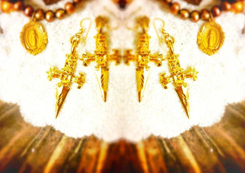 Golden Goddess Dagger Earrings