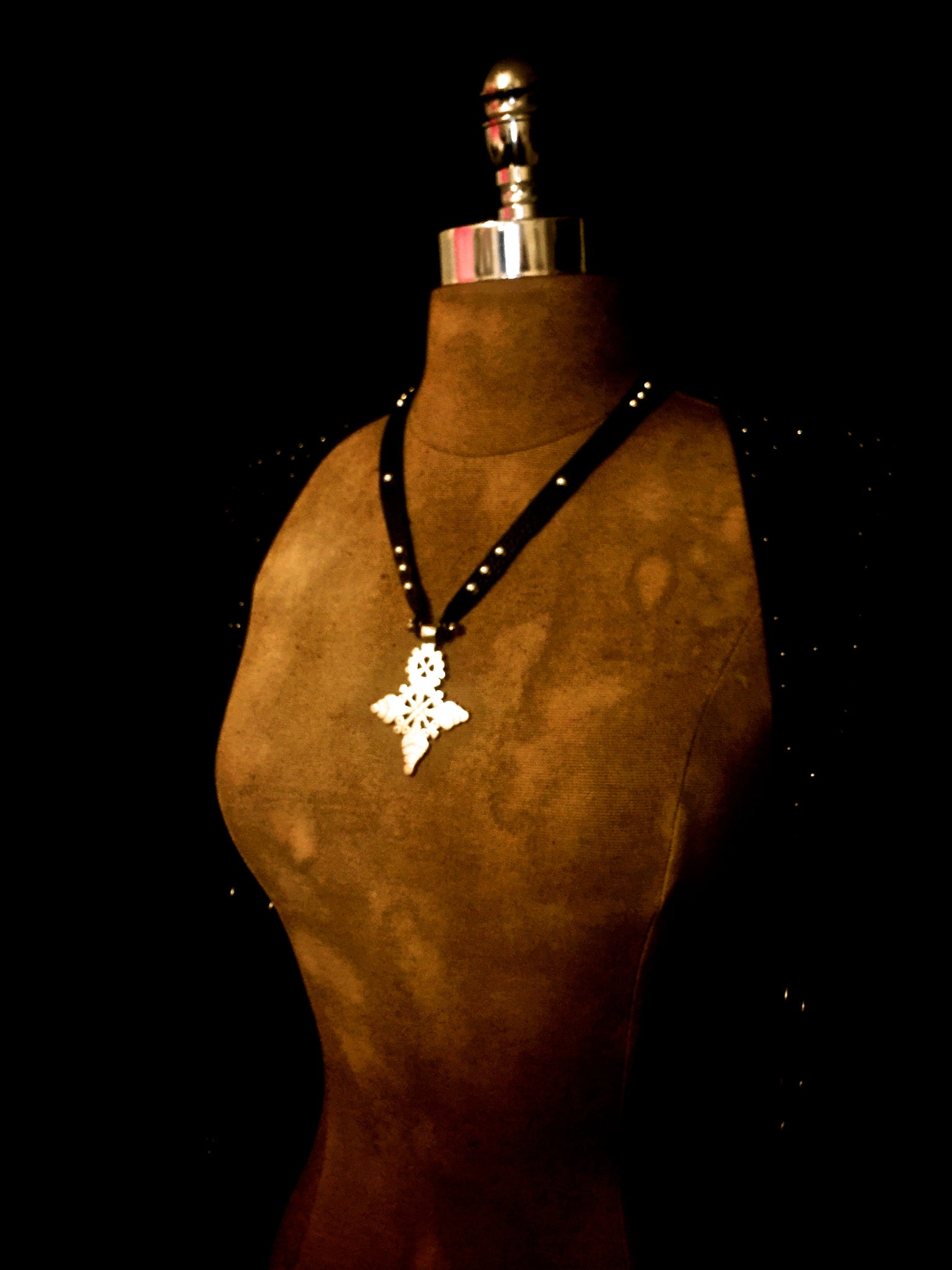Fortus Collection Leather Stud Necklace