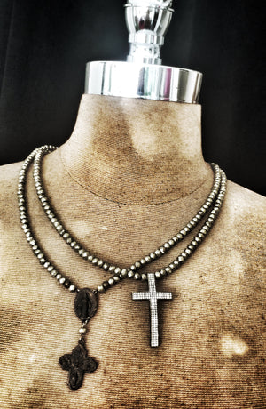 ST. FORTUS CRYSTAL CROSS NECKLACE