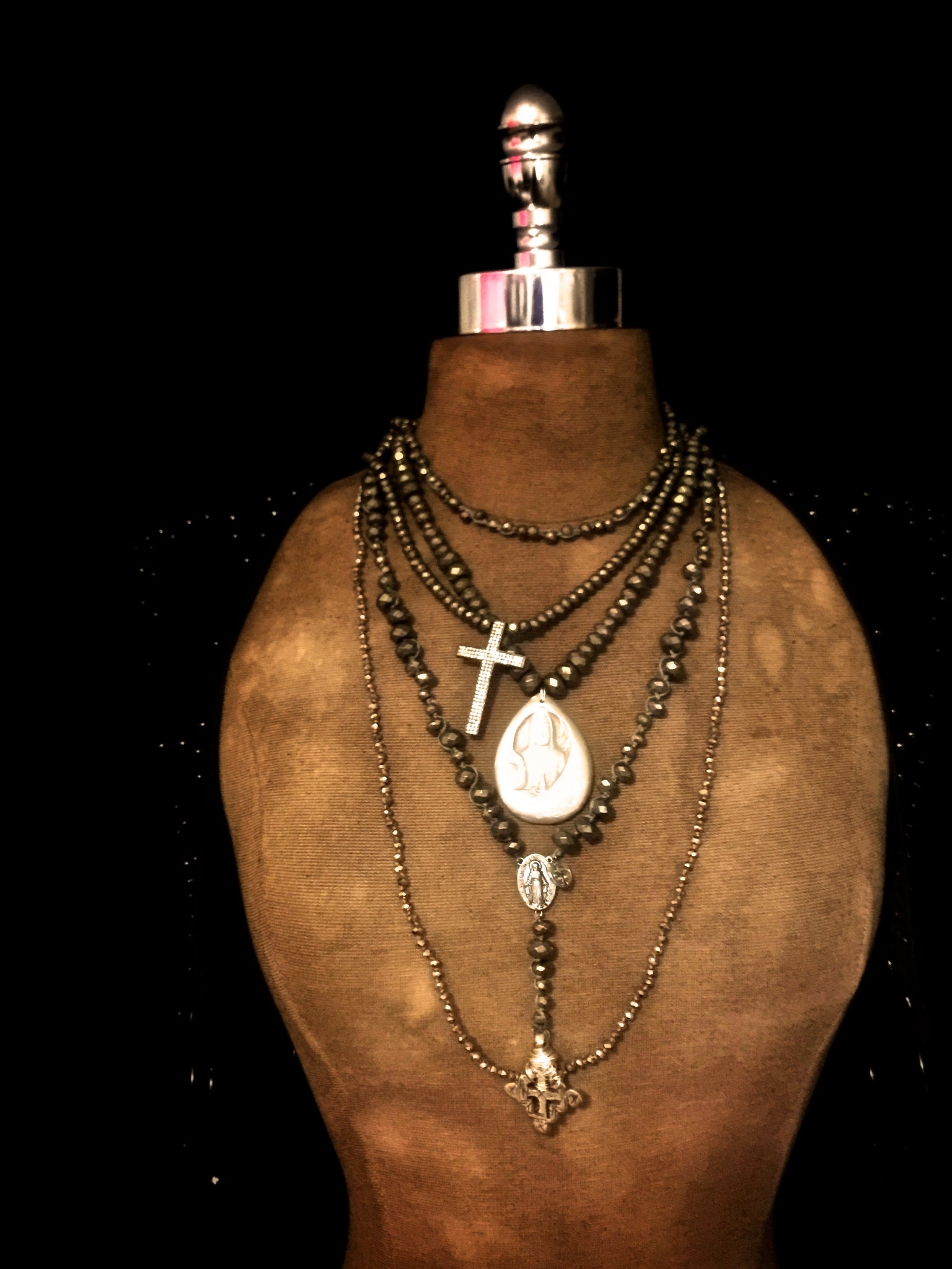 Fortus Collection Pyrite Rosary Necklace