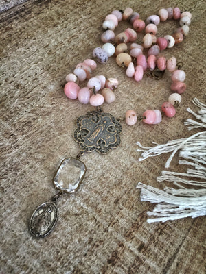 St. Cherche Pink Opal Rosary Necklace