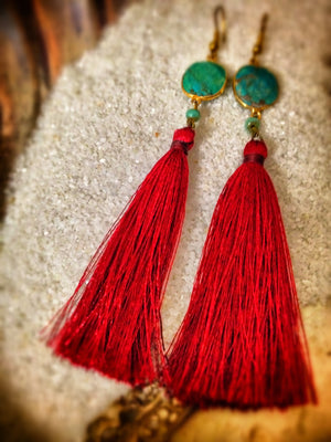 Scarlet Turquoise Bezel Earrings