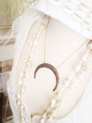 Rock Goddess Diamond Pave Crescent Moon