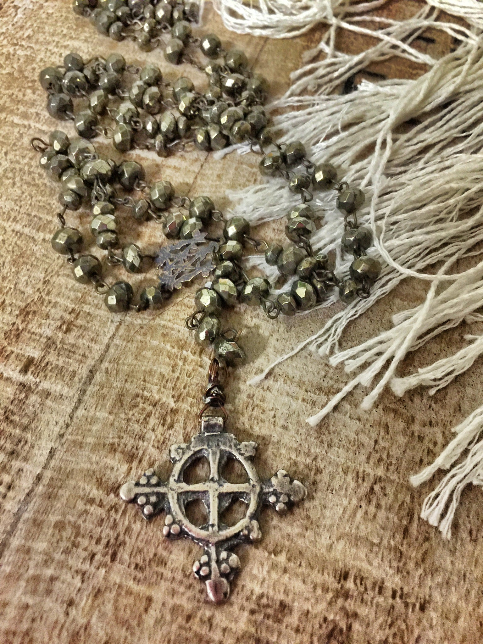 Rock God St. Celtic Pyrite Rosary Necklace