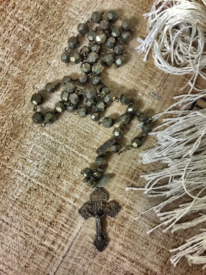 Rock God St. Constantine Pyrite Rosary Necklace