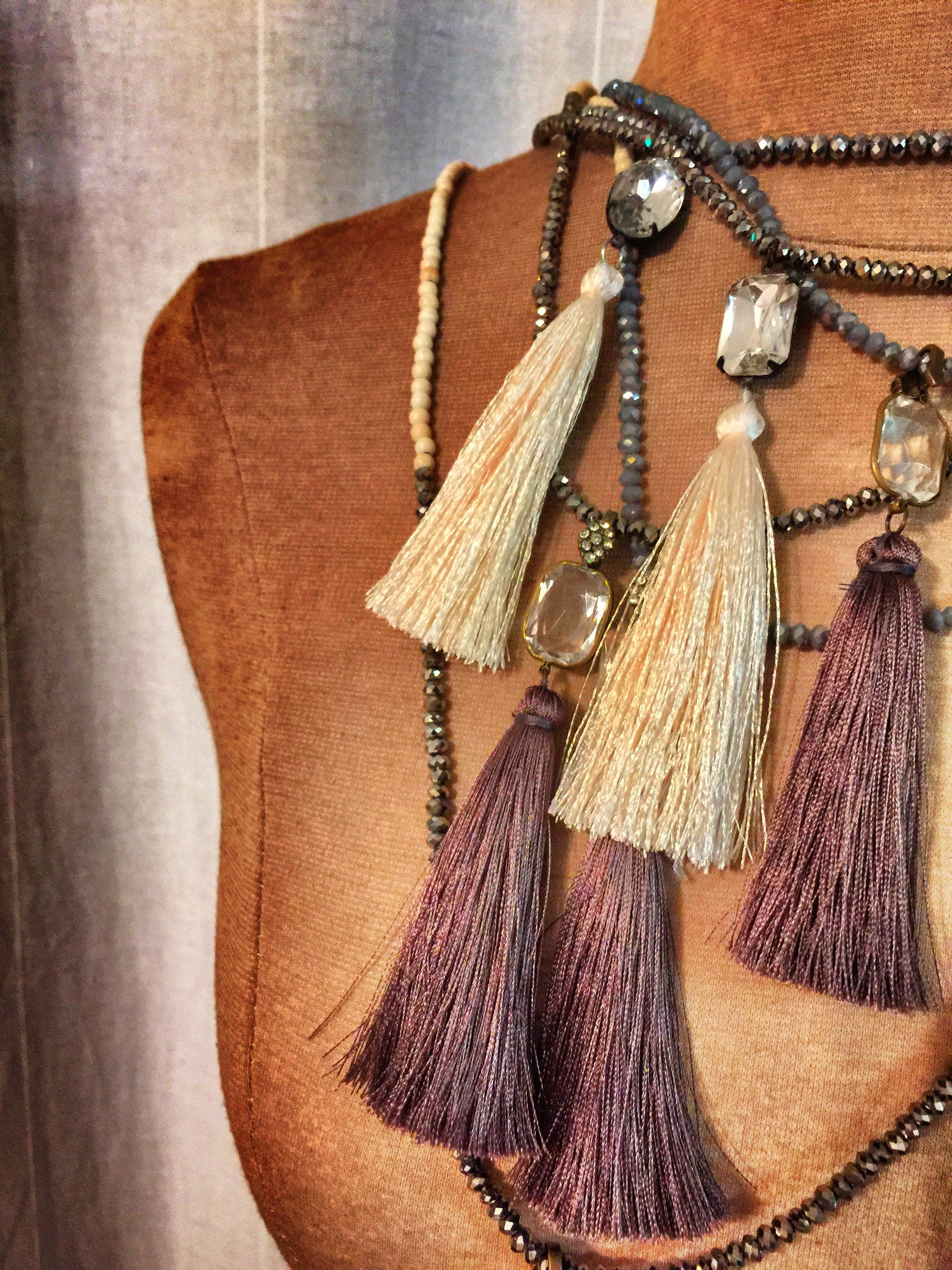 Rock Goddess Tassel Wrap Necklace - Silk Silver