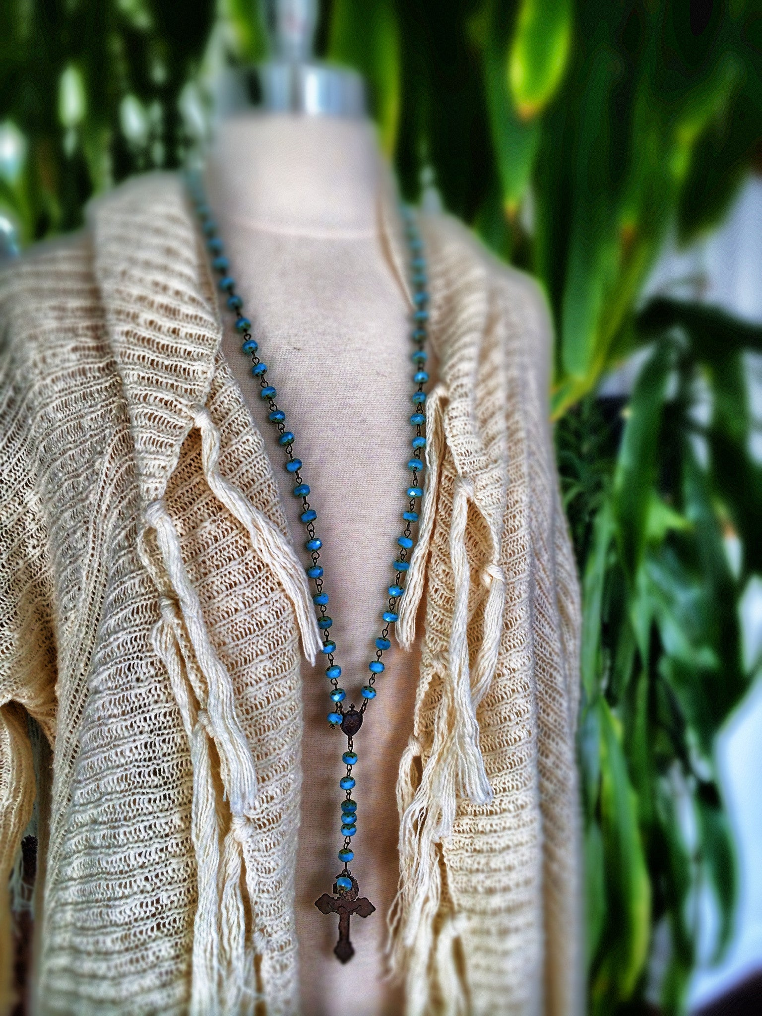 Calypso Blu Rosary Wrap Necklace