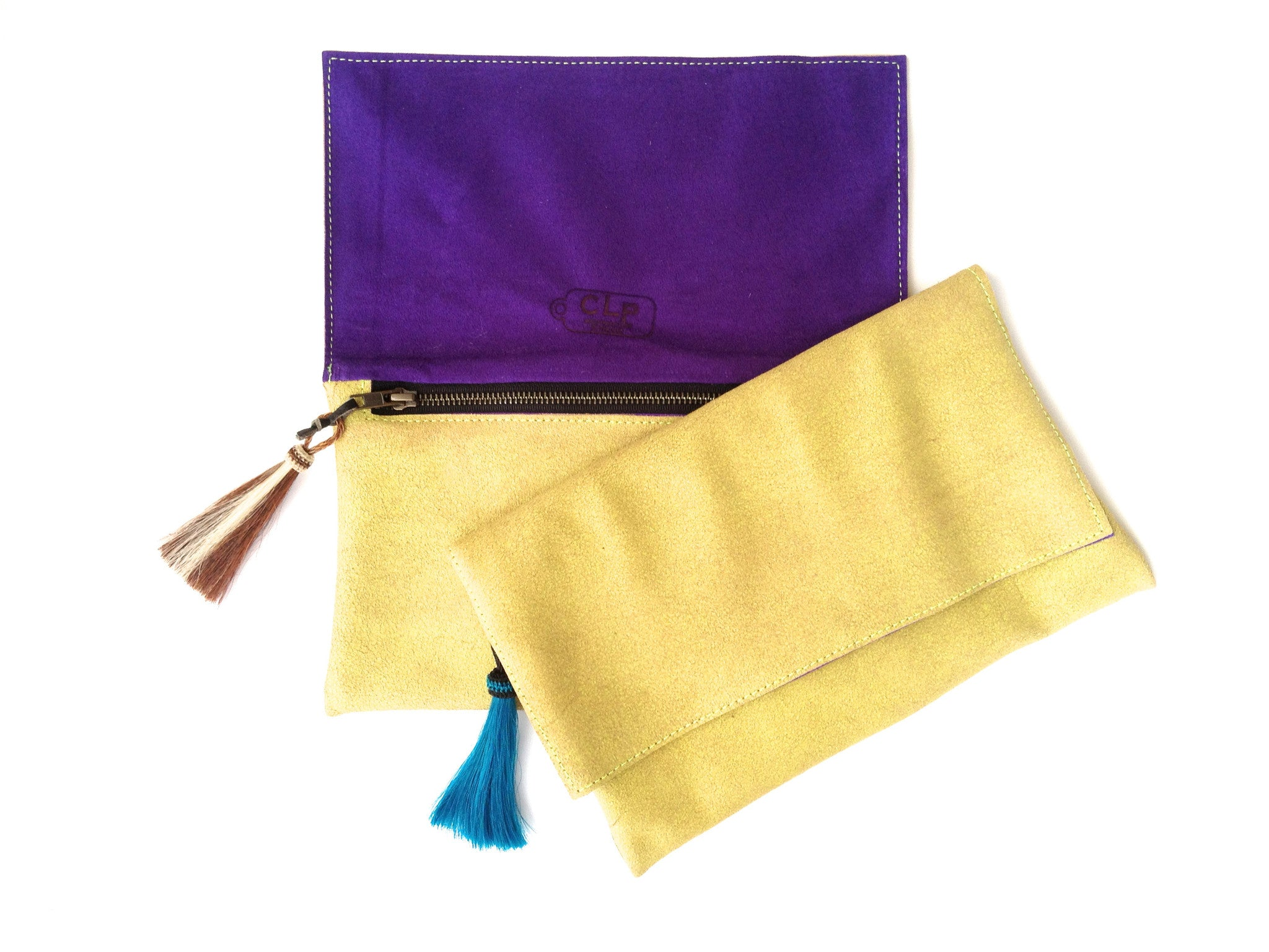 Piseas Horsetail Leather Clutch - Blondie/Teal Tassel