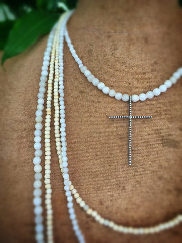 St. Bastile Crystal Cross Necklace