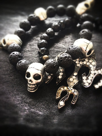 Rock God Black Lava Skulls Bangle