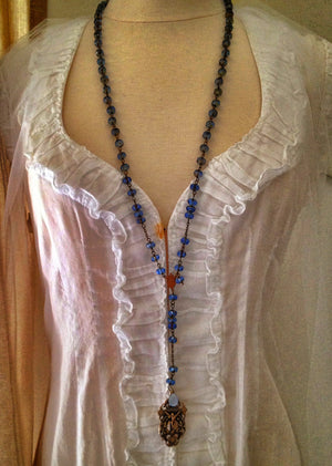 Sapphire Blue Jean Rosary Necklace