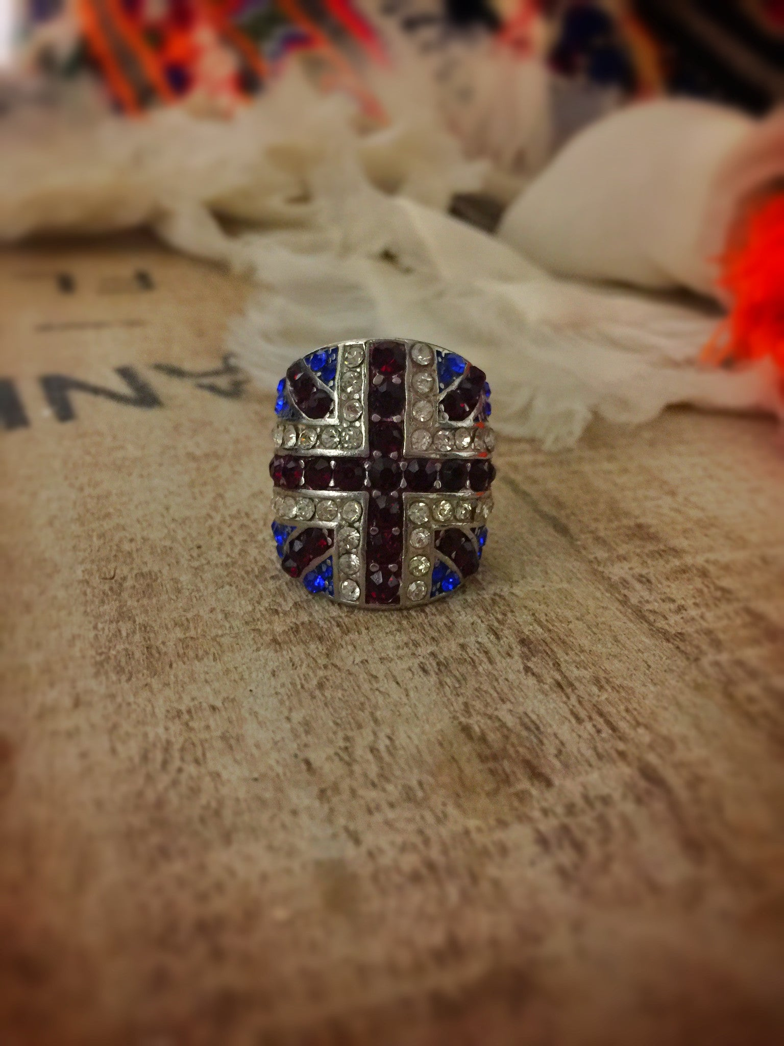 Crystal Union Jack Ring