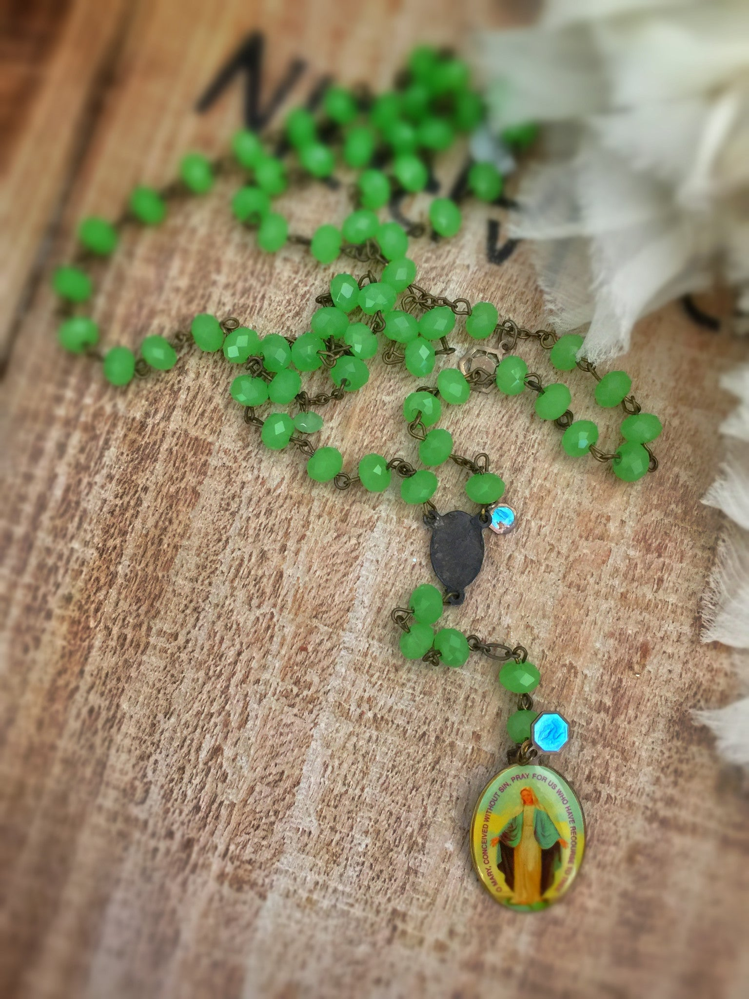 Saint Lucia Emerald Rosary Necklace