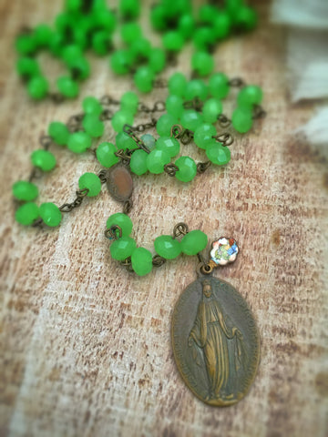 Saint Laurel Emerald Rosary Necklace