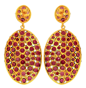 Rock Goddess Garnet & Diamond Pave Earrings