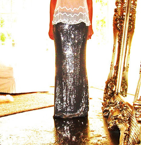 Chan Luu Sequin Maxi Skirt Small