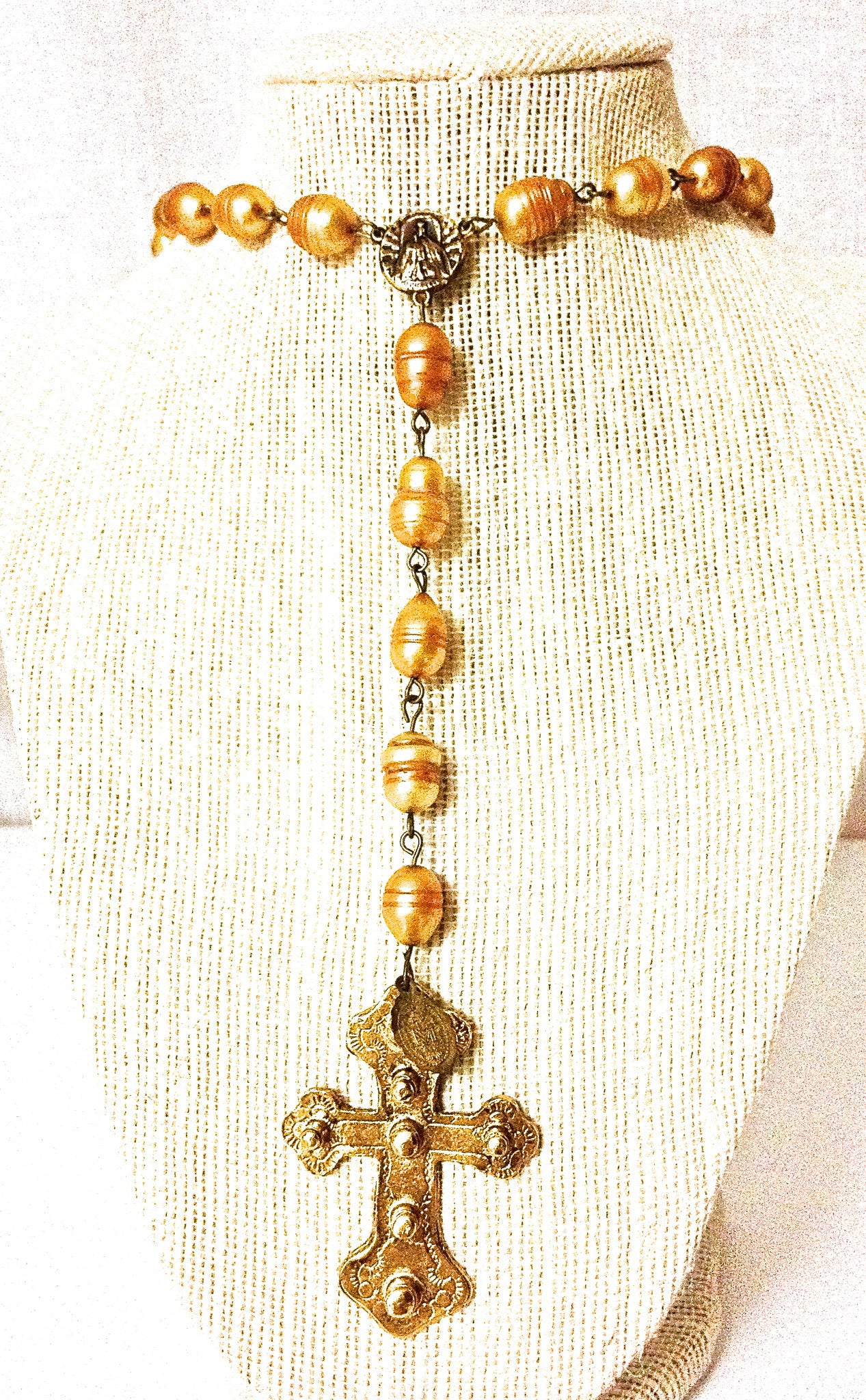 St. Sienna Pearl Rosary Necklace