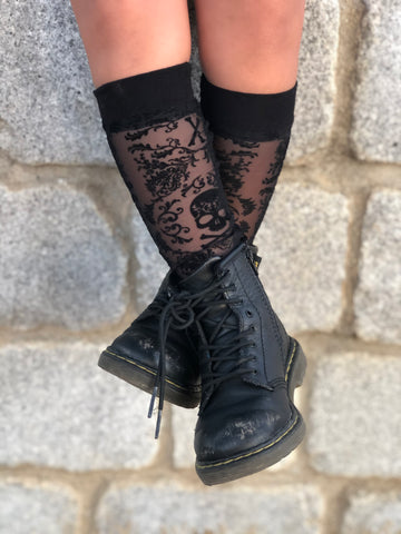 Skull Lace Knee Highs