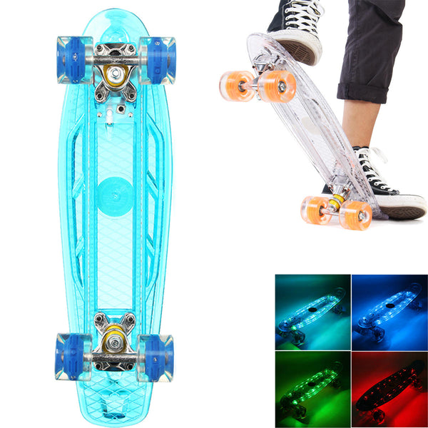 LED Penny Style Flashing Single Warped Four Wheel Skateboard Teenagers
