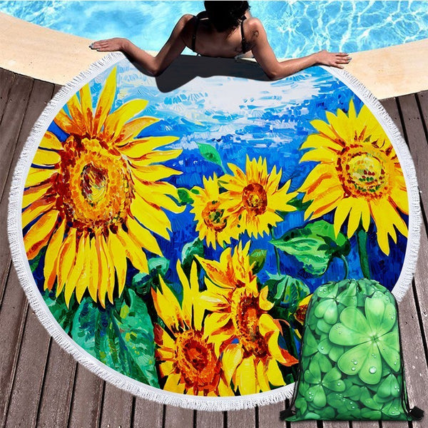 Summer Sunflower Floral 450G Round Beach Towel With Tassel 150cm Blanket Mat Tapestry Swimming Bath Towel Travel Storage Bag