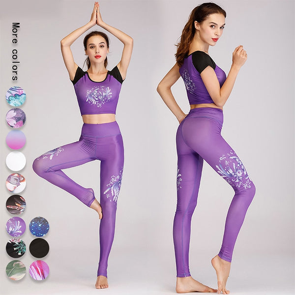 Quick Dry Yoga Set Women Sportswear Print Gym Active Wear Outfit Fitness Clothing Sport Suit Women Workout Running Set Tracksuit