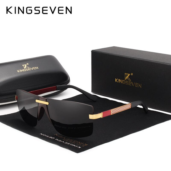 KINGSEVEN HD Polarized Sunglasses Men Rimless Luxury Brand Designer Gafas Masculino Polarizado oculos De Sol