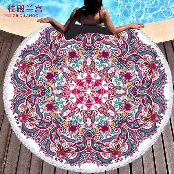 GRIDILANGO Bohemian Mandala Microfiber Round Beach Towels For Adults Kids Travel Outdoor Sports Yoga Tapestry Tassel Bath Towel
