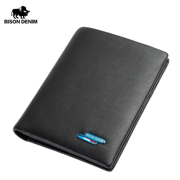 BISON DENIM Genuine Leather Short Wallet Casual Men Wallet Purse Dollar Price Standard Card Holders Wallets For Men N4449