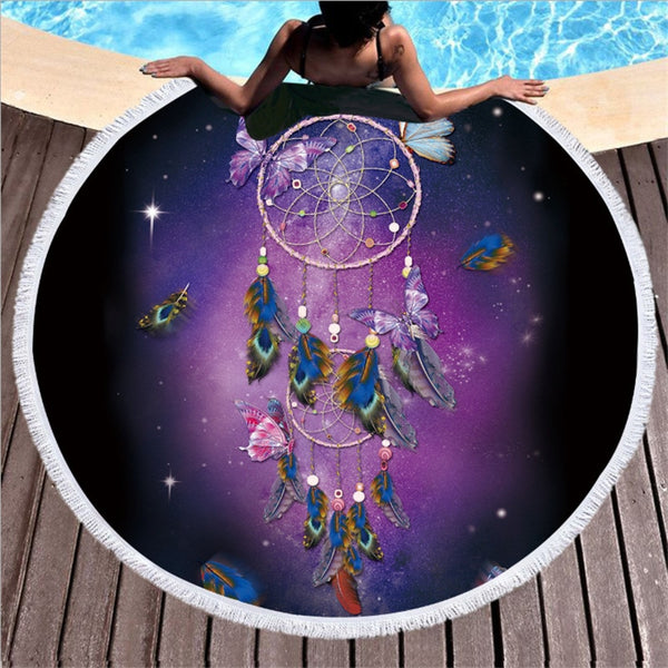 XC USHIO Round Beach Towel With Tassel Dream Catcher Microfiber 150cm For Swimming Bath Picnic Wall Tapestry Blanket 2019 Style