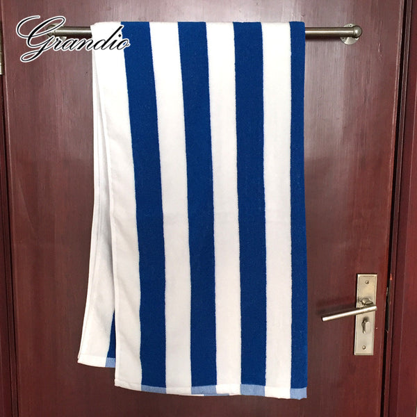 100% Cotton Beach Towel 80x150cm Blue White Striped Luxury Heavy Thick Terry 650g Absorbent Hotel Bathroom Bath Towel for Adults
