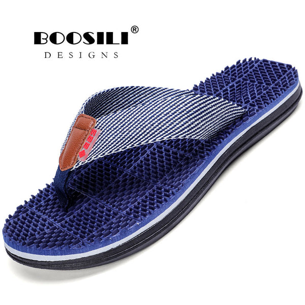 Zapatillas Hombre Top Fashion 2019 Massage Flip Flops Men Outdoor Bath Slippers High Quality Male Stripe Flat Non-slip Footwear