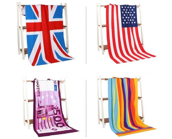 70*145cm High Absorbent Euro Flag Print Microfiber Bath Beach Towels for Adults Large Men Camping Towel Beach Home Textile 2018
