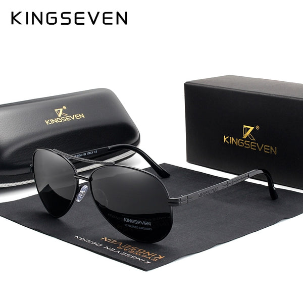 KINGSEVEN 2019 Design Aviation Alloy Frame HD Polarized Sunglasses For Men UV400 Protection