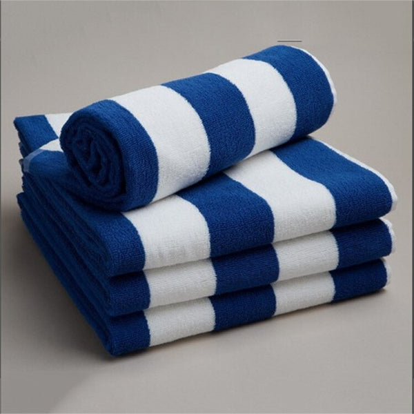 Mediterranean style navy blue and white stripe towel cotton Blue and white striped cotton beach towels green striped towel