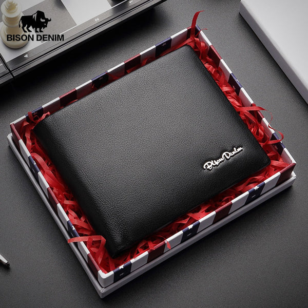 BISON DENIM Men Wallet Genuine Leather Wallet Male Multifunctional Card Holder Wallet Coin Purse Standard Short Wallet W4495