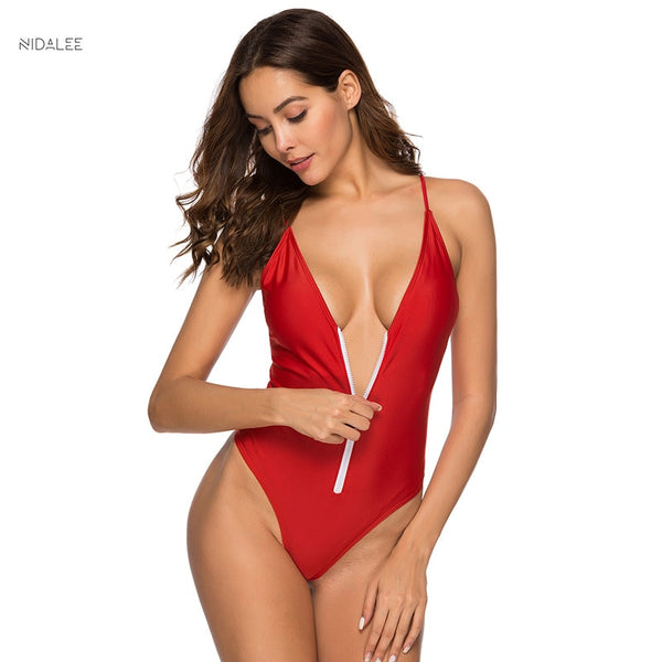 NIDALEE One Piece Bikini Women Swimwear Solid Zipper Push Up Bikini Swimsuit Bathing Suit One Piece Beach Wear Bandage Monokini