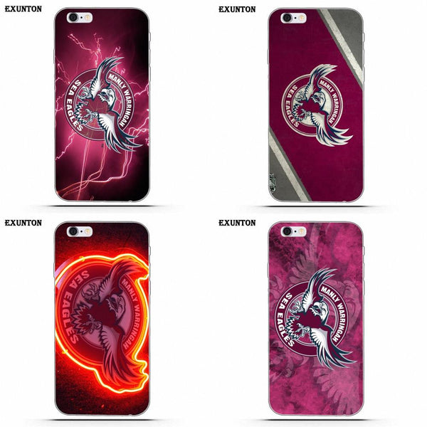 Nrl Manly Sea Eagles For Apple iPhone 4 4S 5 5C SE 6 6S 7 8 Plus X For Apple iPhone 4 4S 5 5C SE 6 6S 7 8 Plus X Soft Print Case 1 2