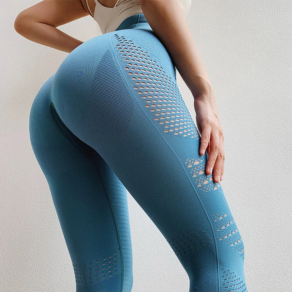 Top Quality High Waist Women Eyelet Flawless Knit Tights Seamless Yoga Leggings Tummy Control Fitness Gym Leggings Sports Pants