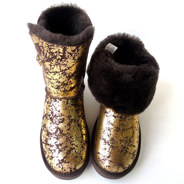 Women Natural Sheepskin Snow Boots Female Real Sheep Fur Button Mid Calf Natural Fur Boots Flat Wool Winter Sheep Shoes