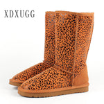 XDXUGG High snow boots for women winter shoes sheepskin leather fur lined big girls tall wool thigh winter boots black