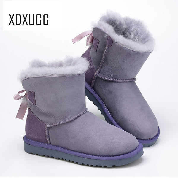 XDXUGG Women's Shoes Sheepskin Leather Boots Winter Australian Female Snow Boots Wool Women Fur Boots Botas Mujer Flat Shoes