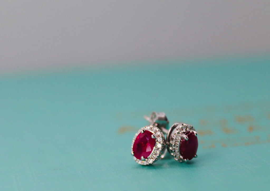 Pair Of Ruby & Diamond Studs