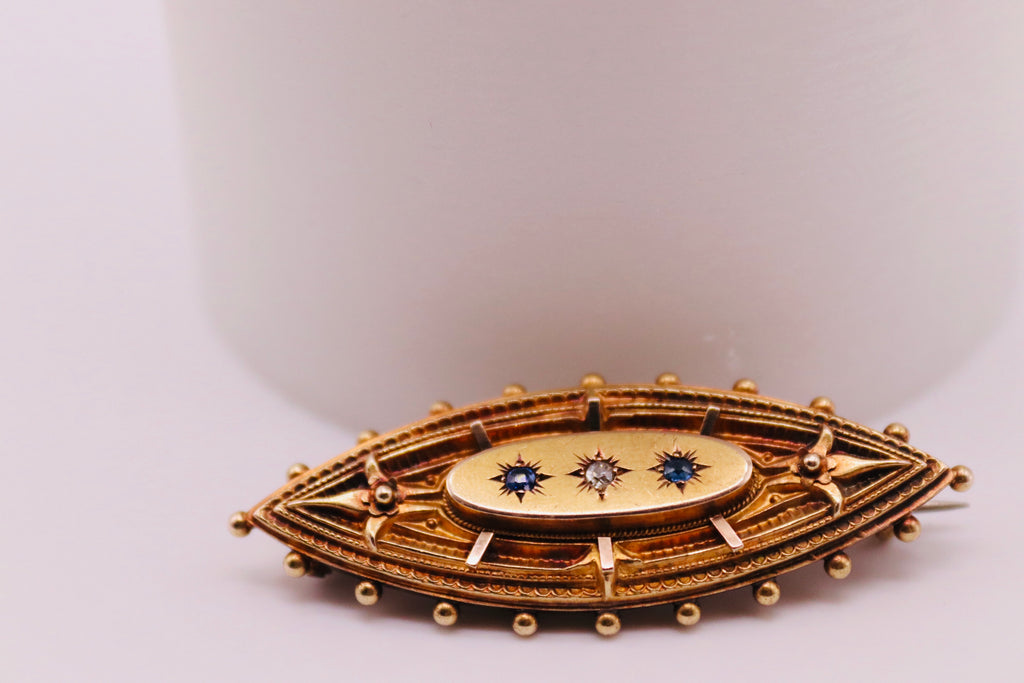Antique Brooch Set With Sapphires & Diamonds