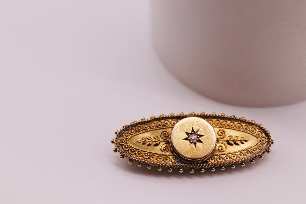 Antique Gold Brooch With Central Diamond