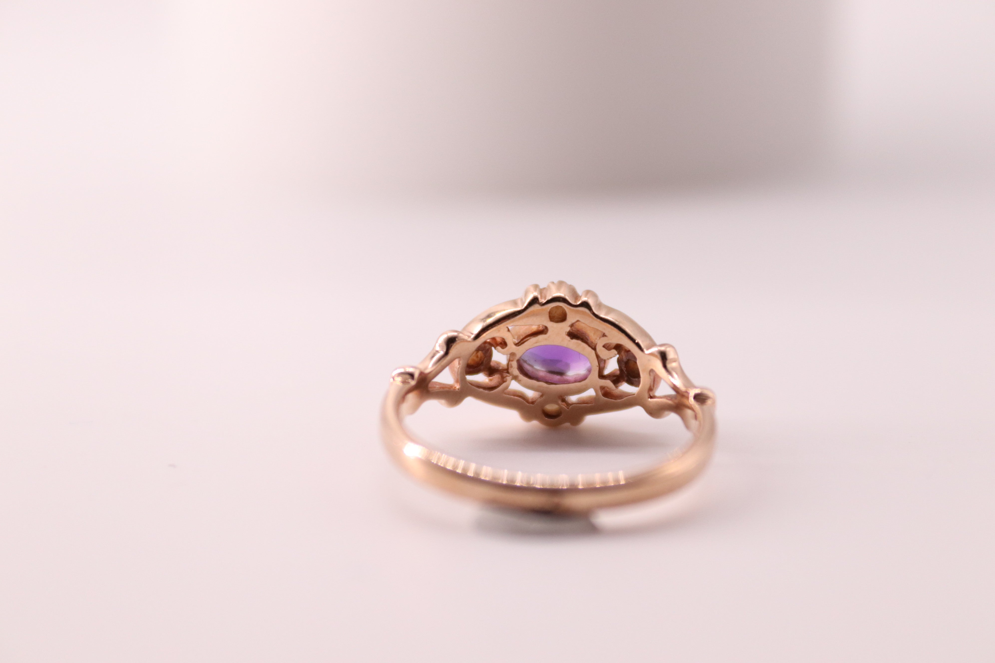 Amethyst & Pearl Set In Rose Gold