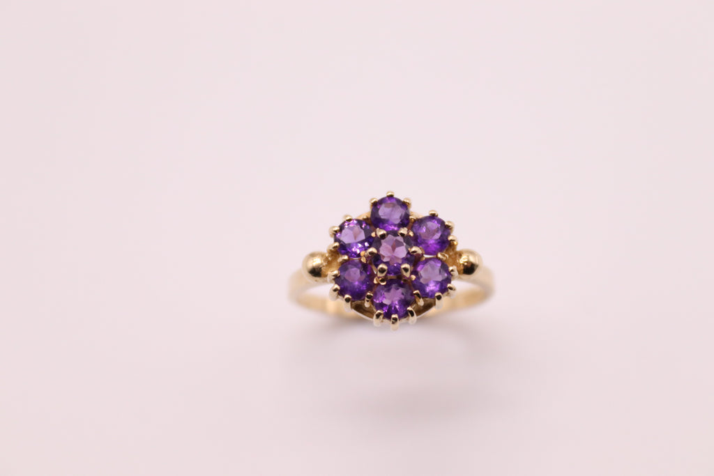 Amethyst  Cluster Set In Yellow Gold