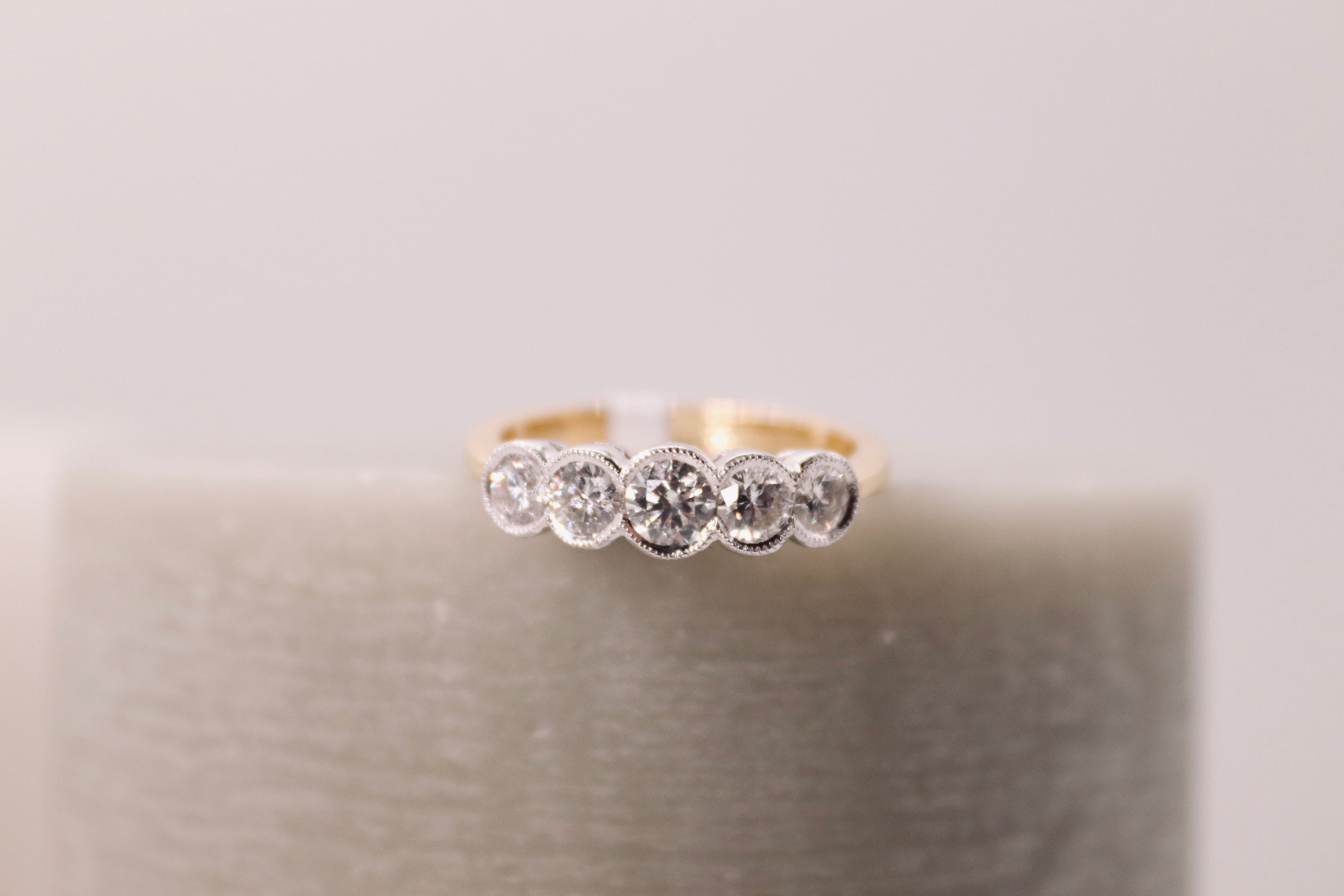 5 Stone Rubover Set Diamond Ring